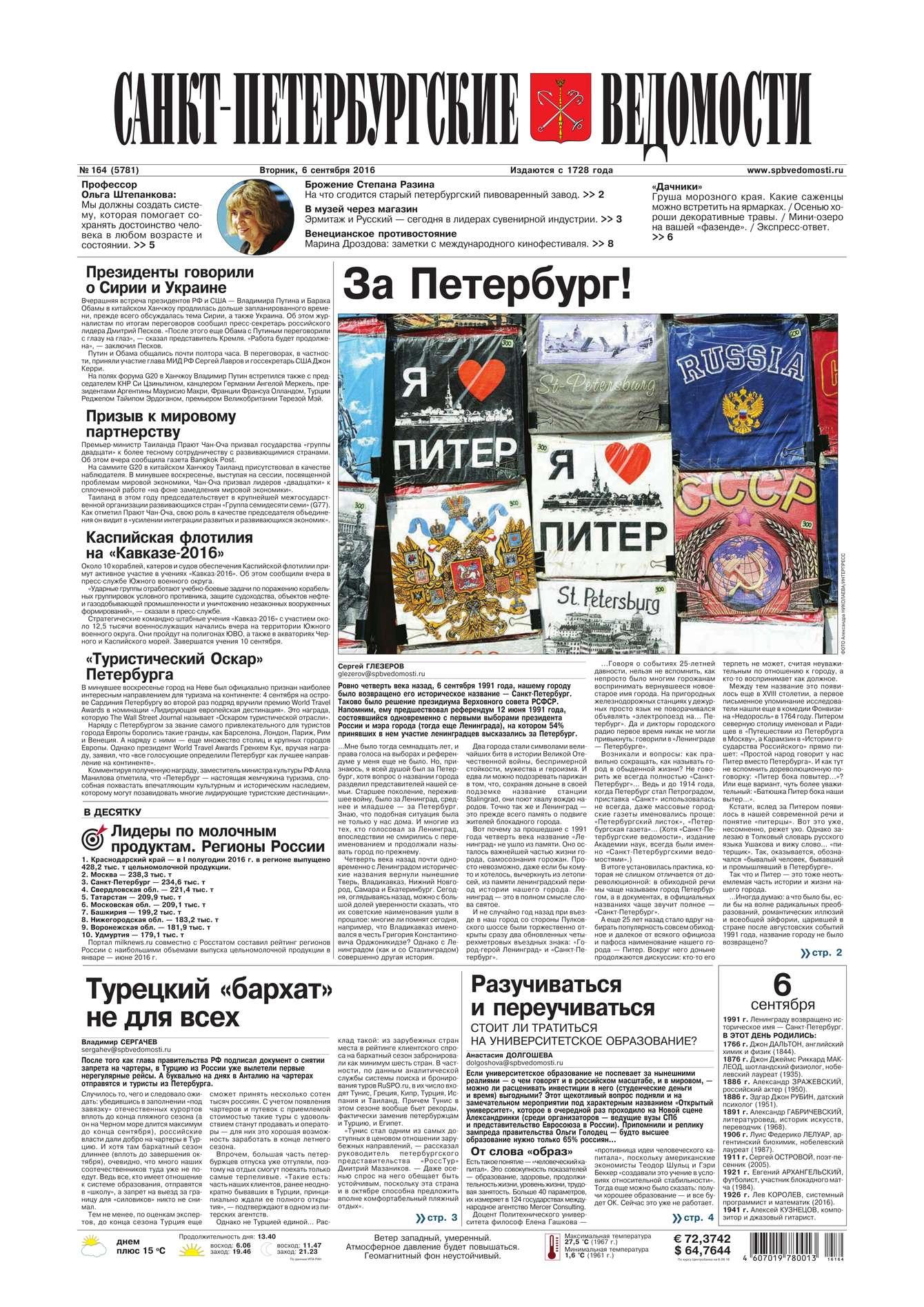 Редакция газеты Санкт-Петербургские ведомости Санкт-Петербургские ведомости 164-2016