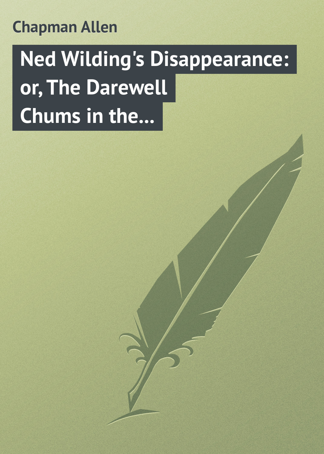 Chapman Allen Ned Wilding's Disappearance: or, The Darewell Chums in the City