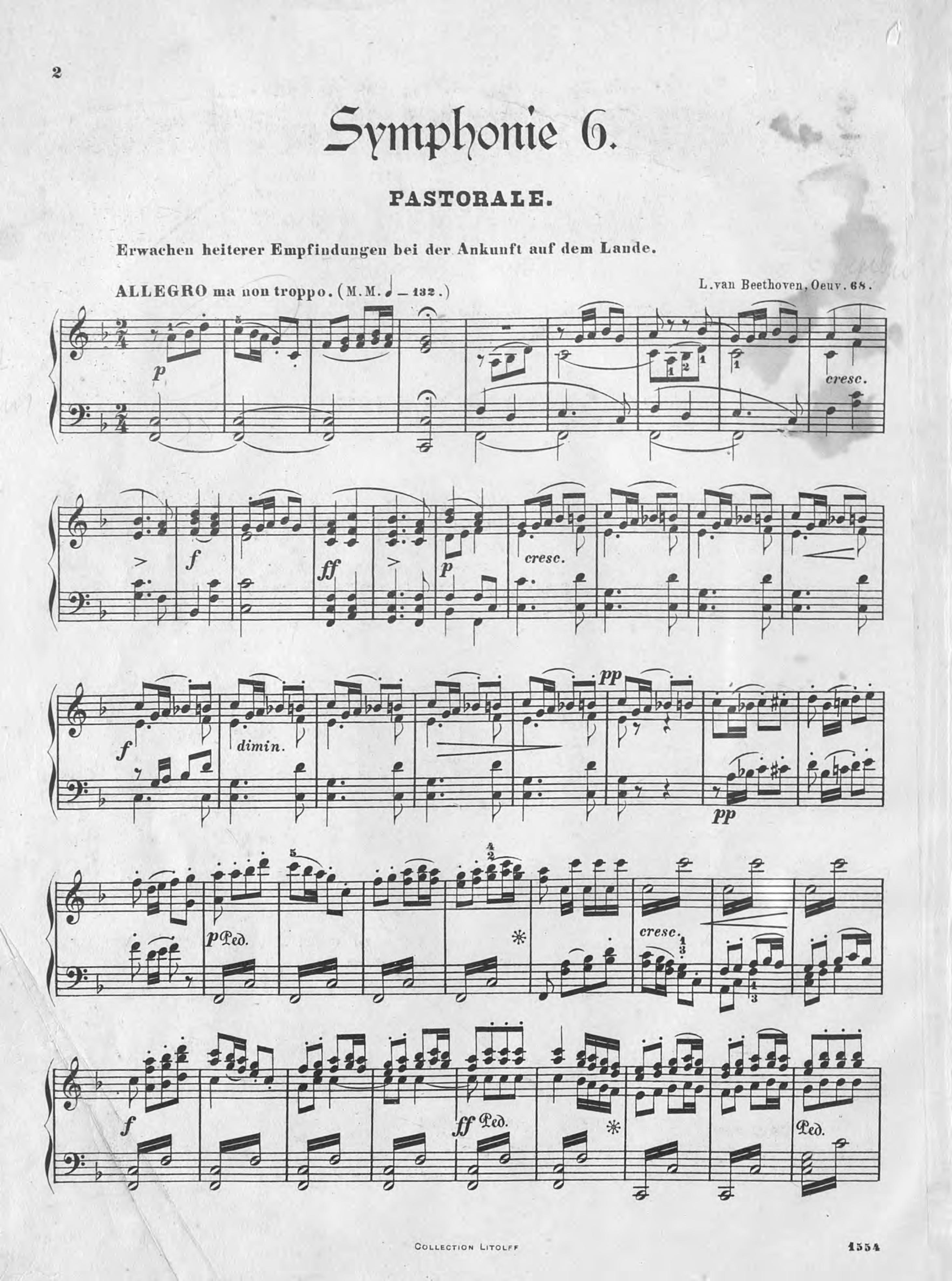 Людвиг ван Бетховен Symphonie № 6 (Pastoral) F-Dur густав малер erste symphonie in d dur