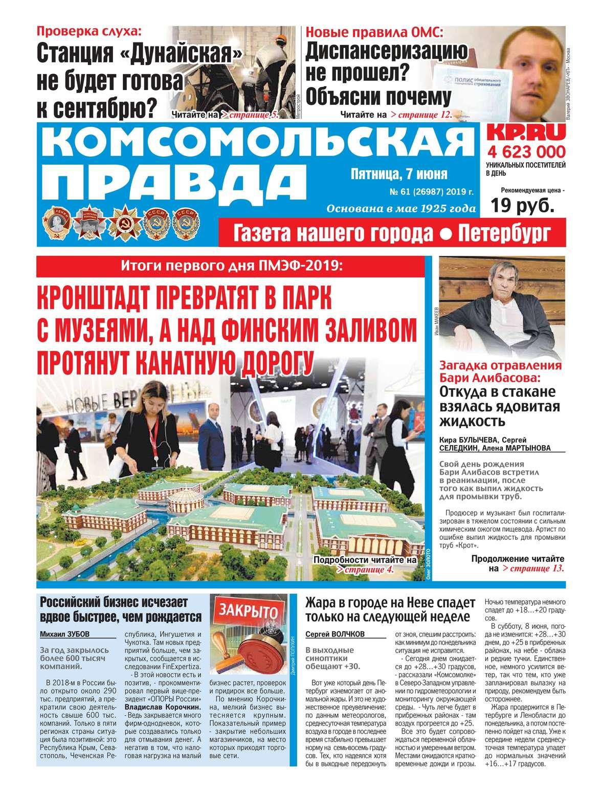 Комсомольская Правда. Санкт-Петербург 61-2019