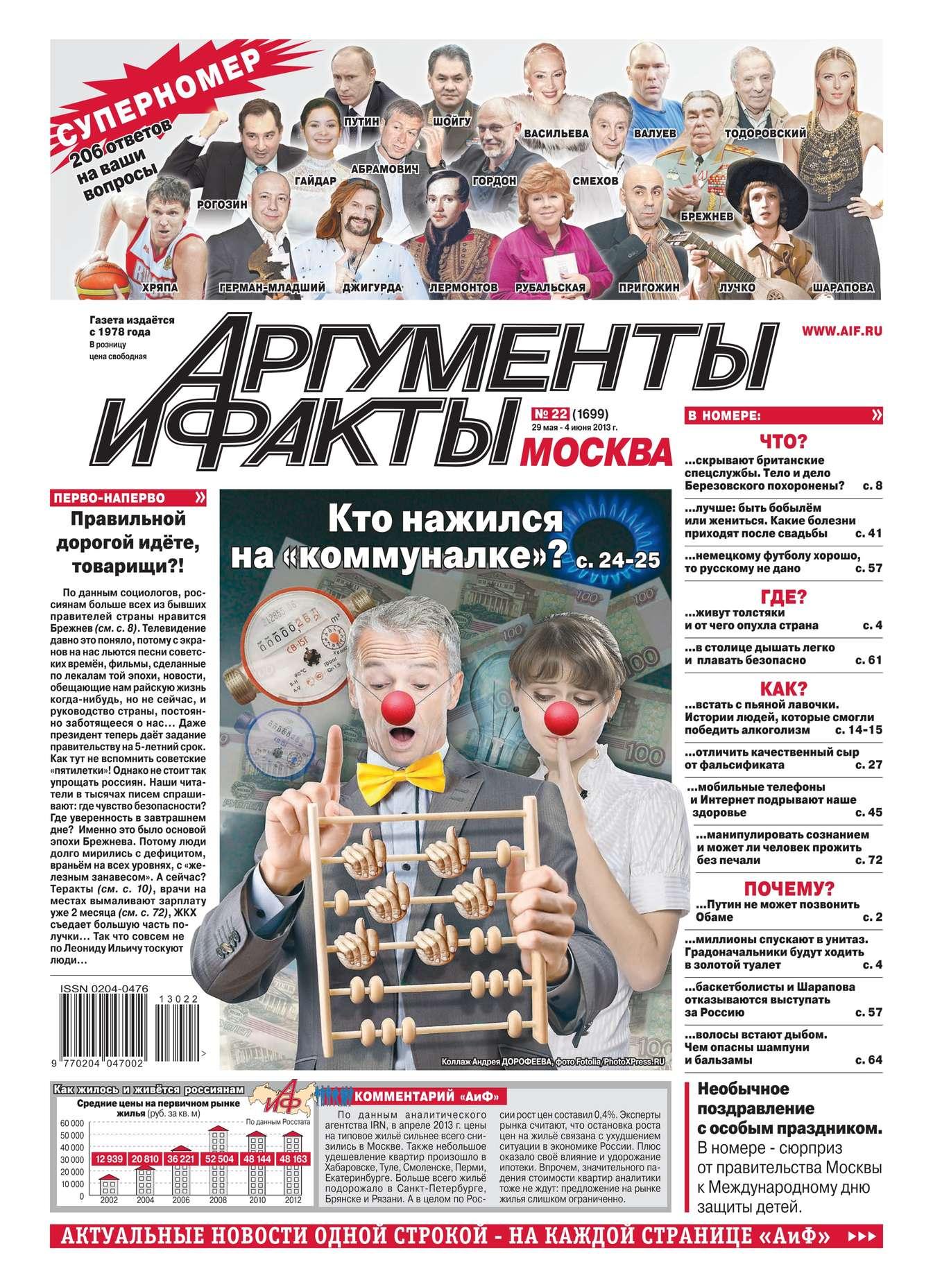 Редакция журнала Аиф. Про Кухню Аргументы и факты 22-2013 цена в Москве и Питере